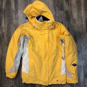 Columbia Yellow White Ski Jacket Snow Coat Omni
